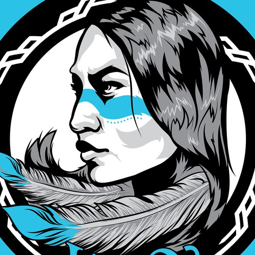 Native American Warrior Woman Emblem