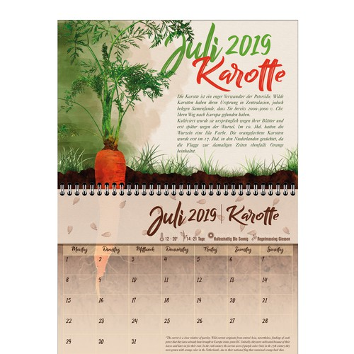 Calendar sheet with sticker with seeds