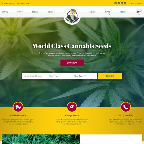 Home page for Cannabis Store