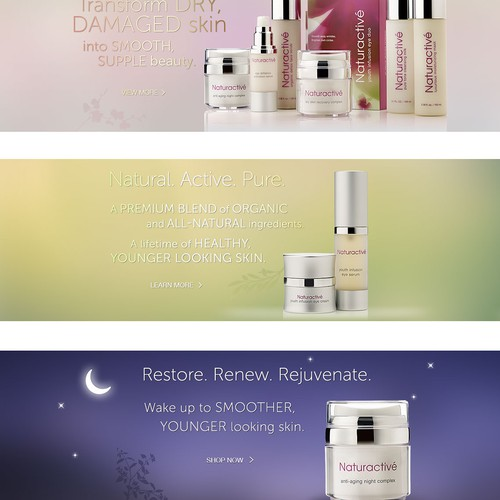 Elegant, High-End, Captivating website for Naturactive Skincare
