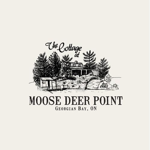 The Cottage at Moose Deer Point Georgian Bay, ON since 1985 — Summer cabin revamp! Ink, fine line Illustration and logo design.