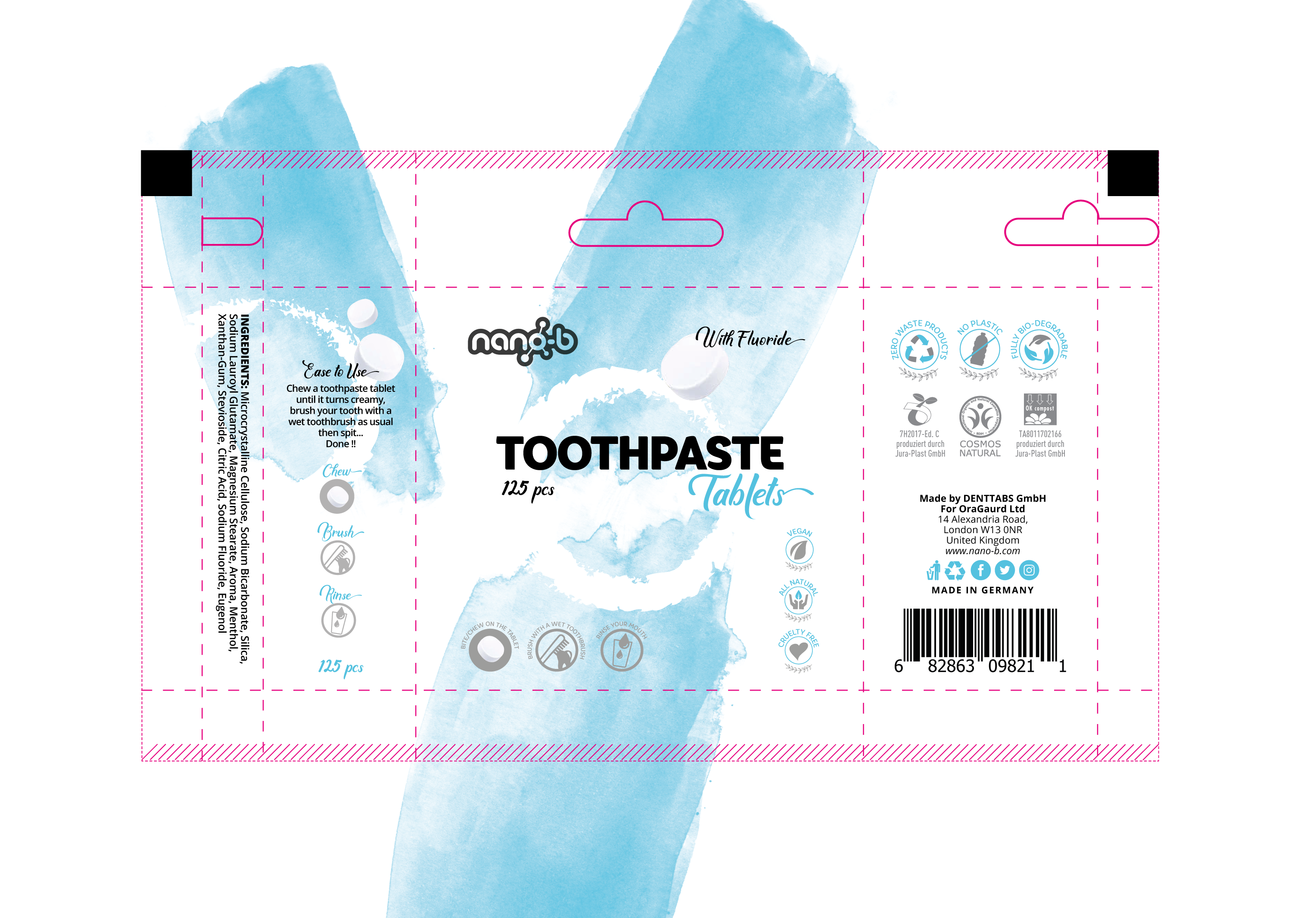 Eye-catching label design for an innovative toothpaste tablets product.