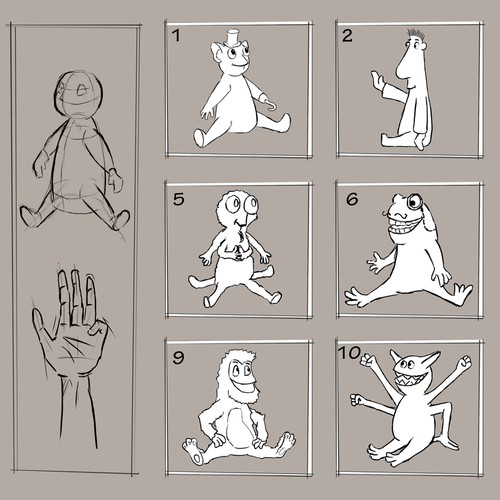 Concept Sketches of a hand puppet