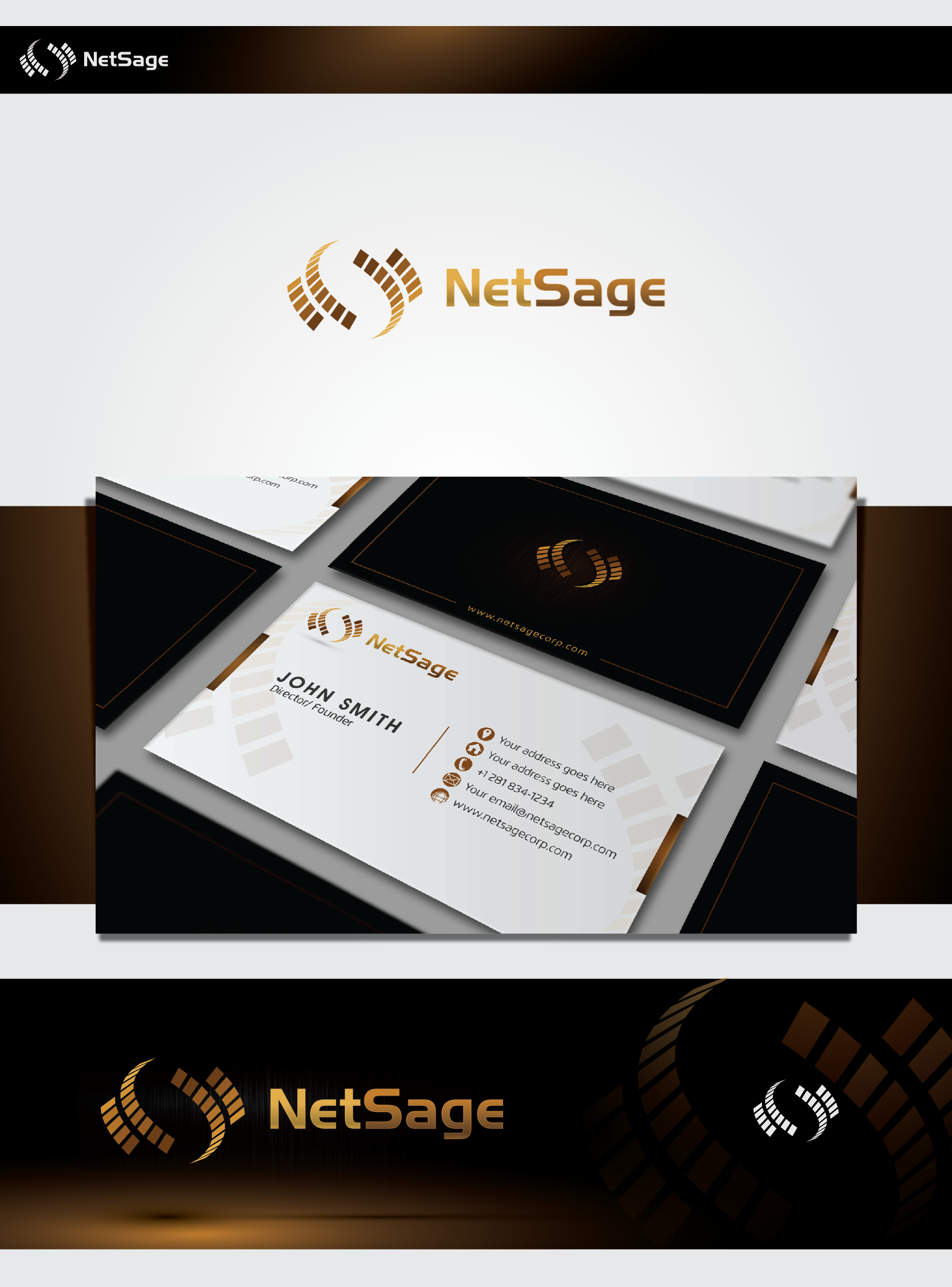 Create the next logo and business card for NetSage