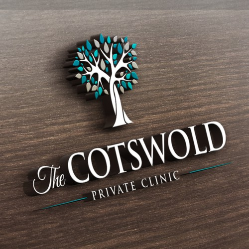 Leaf/tree inspired logo design for private clinic in Cotswolds