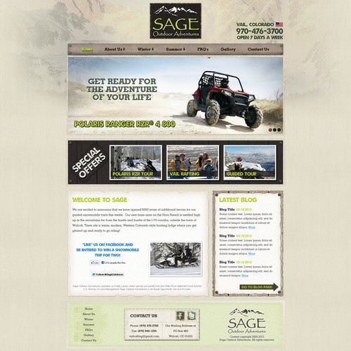 New website design wanted for Outdoor Adventure Website Design