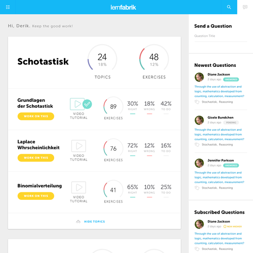 Learning Platform Responsive Dashboard