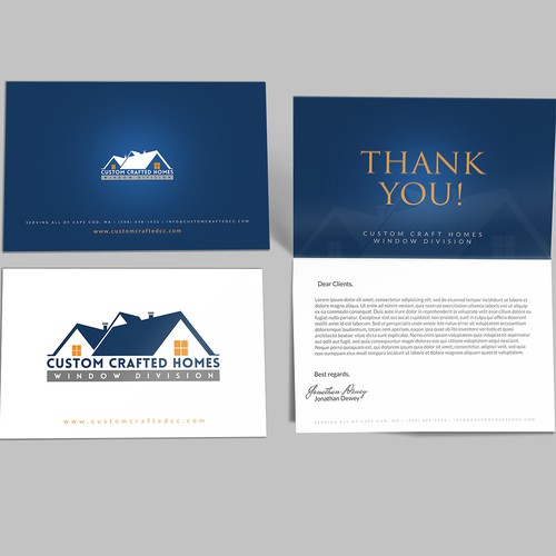 Post card designed for Custom Crafted Homes window divison