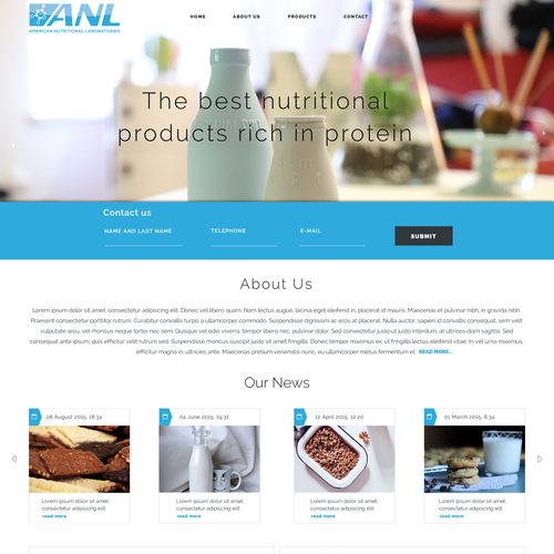 Landing page design for American Nutritional Laboratories