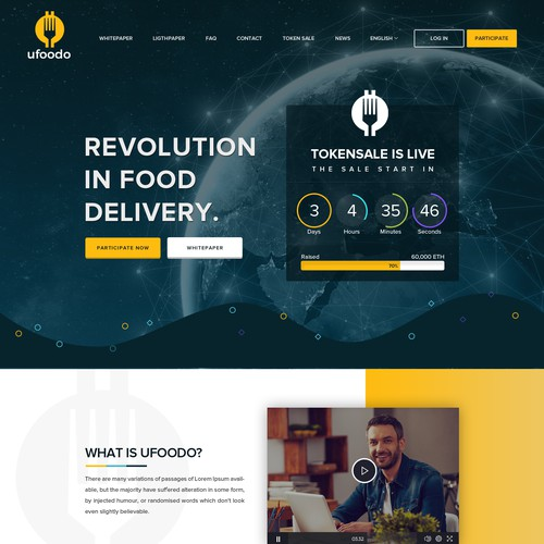Website for food delivery platform in connection with a cryptocurrency.