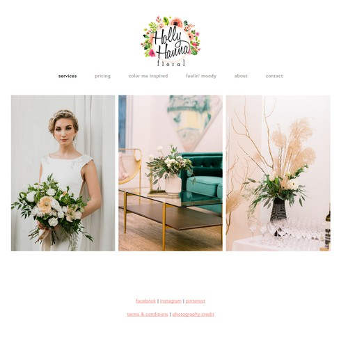 Clean Florist Website with Inspiration Boards by Color and Mood