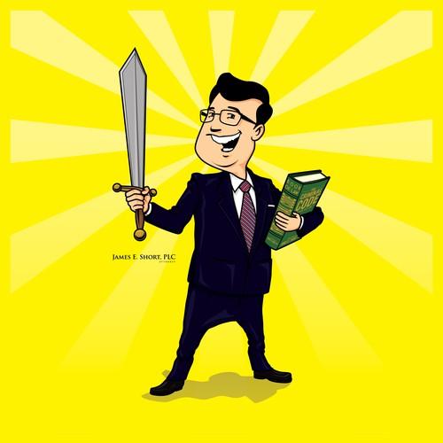 Caricature of attorney