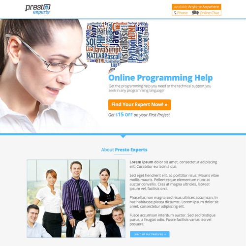 Landing Page for a new expert computer programming website