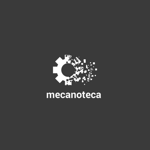 Flat design logo with disintegration effect