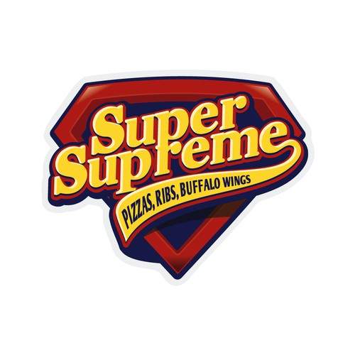 "Logo for ""Super Supreme"" Pizza shop"