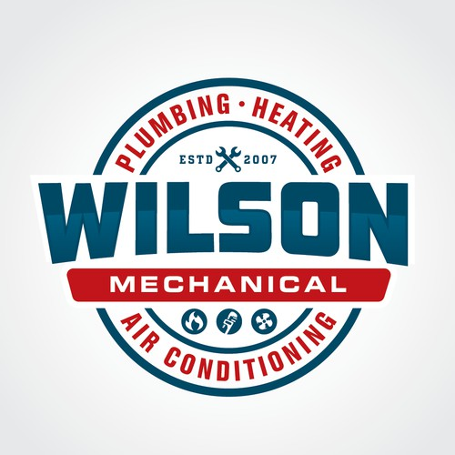 Vintage style Logo for Wilson Mechanical Plumbing Heating and Air Conditioning