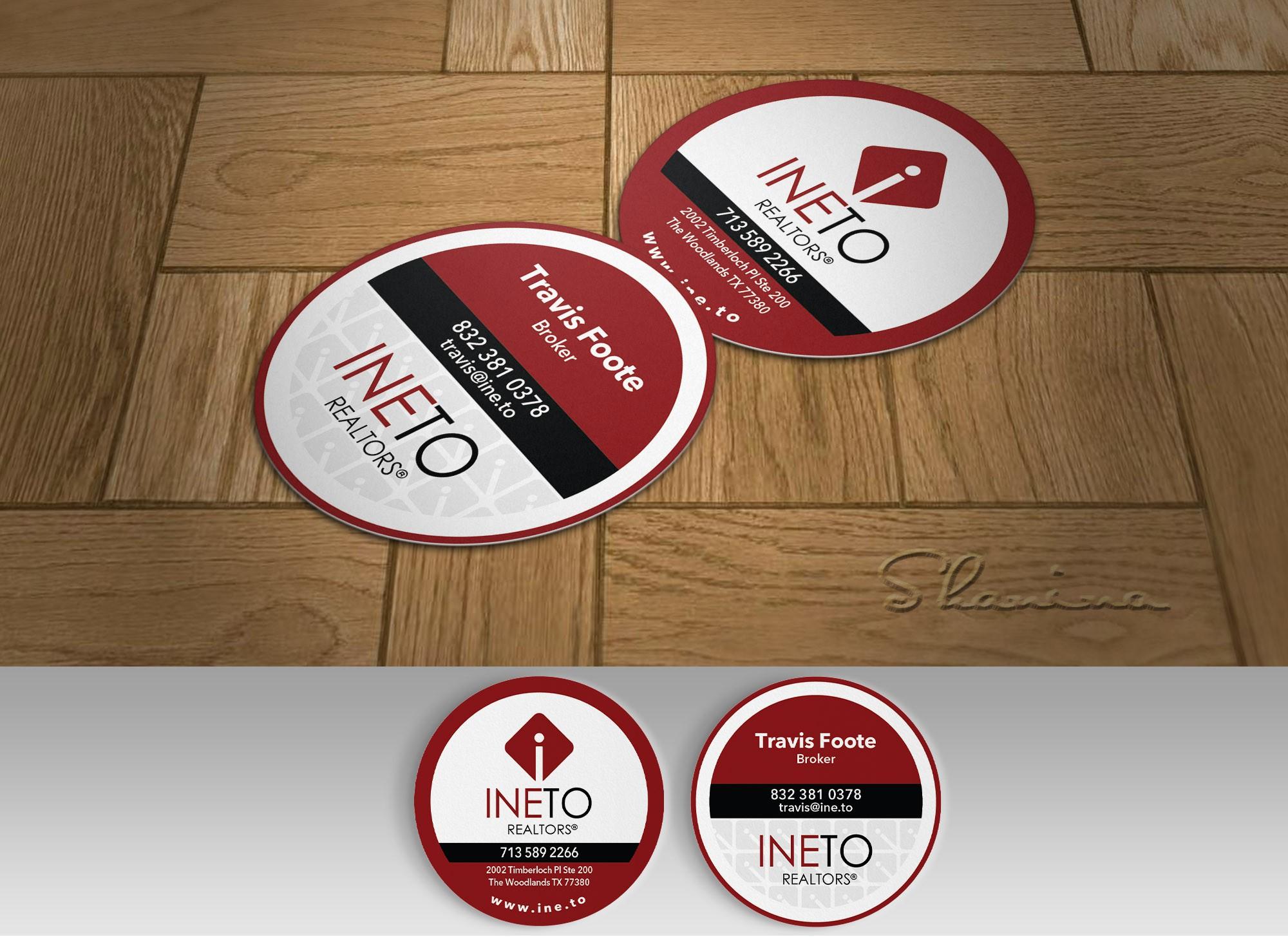 Round business card, minimalist design