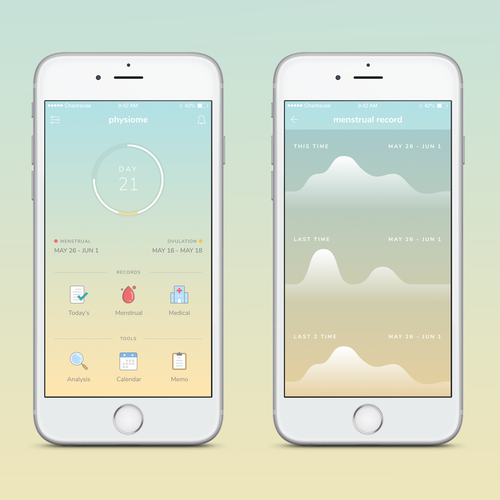 App design concept for period tracker
