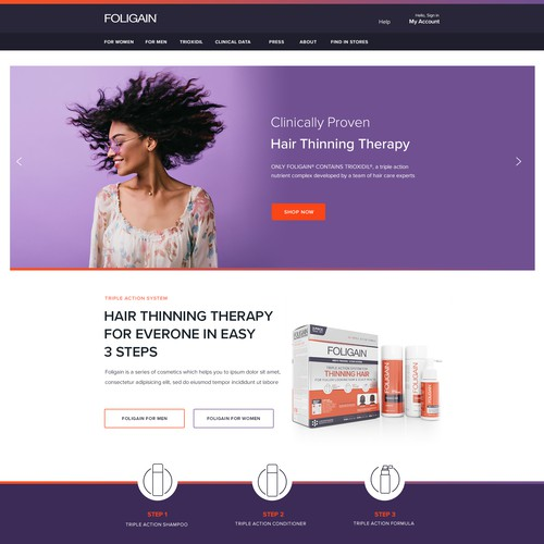 Foligain hair cosmetics website design