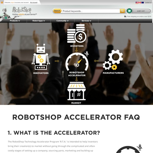 Design the new home page for the RobotShop Accelerator