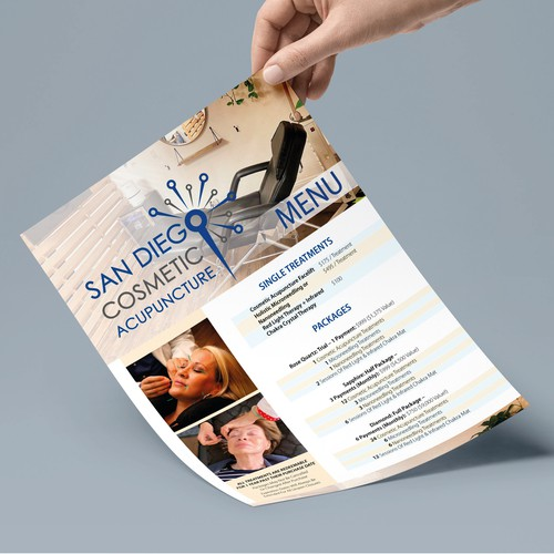 Design menu for clinic San Diego Cosmetic Acupuncture