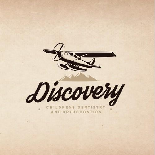 "Vintage seaplane illustration logo for ""Discovery Childrens Dentristry And Orthodontics"""