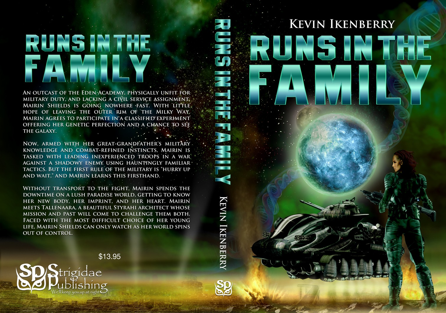 Create a military science fiction cover with a woman and tank on a lush alien world