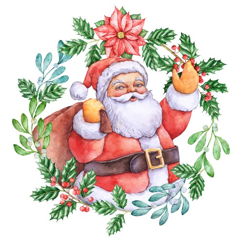 Hand drawn design. Hand-drawn watercolor illustration. Christmas theme, Santa. For Christmas cards, Christmas presents, Christmas packaging
