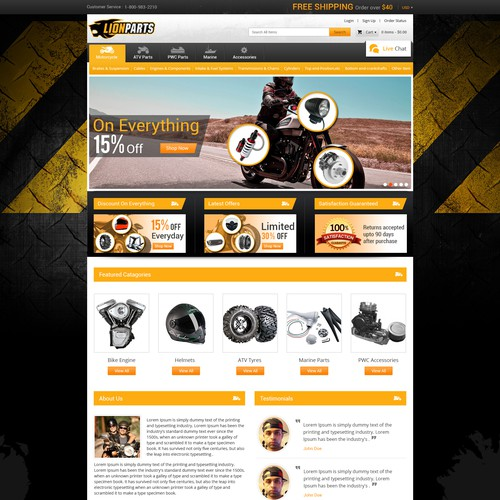 create a winning website design for lionparts a parts and accessories