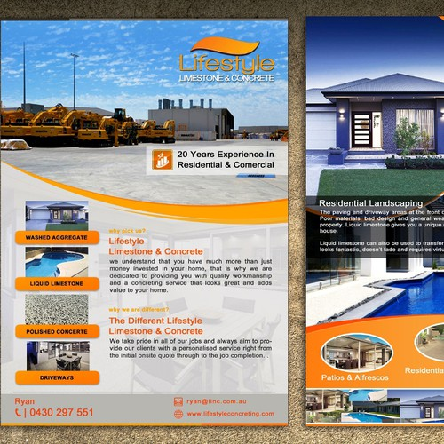 CREATE A BROCHURE FOR LIFESTYLE LIMESTONE AND CONCRETE