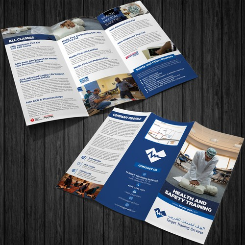 Create a brochure for Health and Safety training Company in the Middle East
