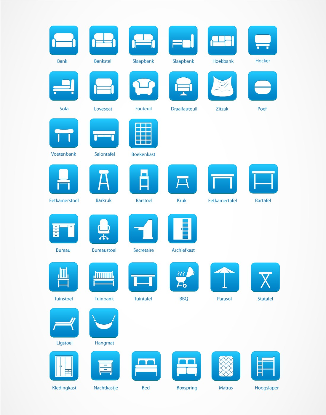 38 plain furniture icons needed