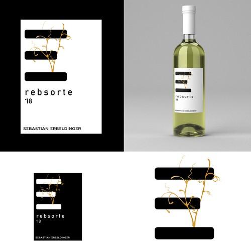 Einzigartiges, modernes, minimalistisches Weinetikett