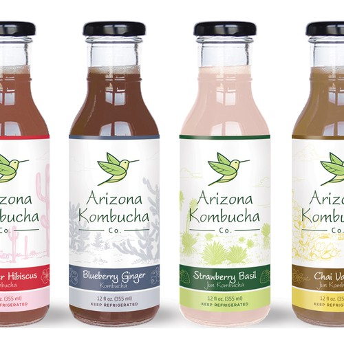 Product label design for Arizona Kombucha Company