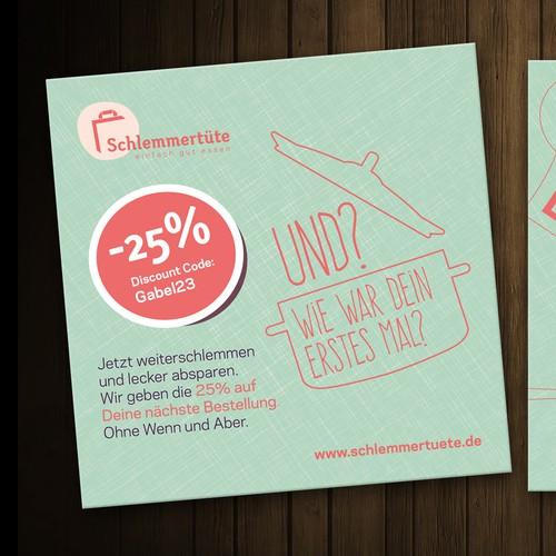 Create a door-opener-flyer for the German food startup Schlemmertüte