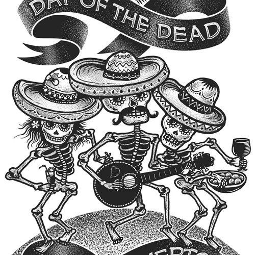 Día de los Muertos illustration for E-Cards.com