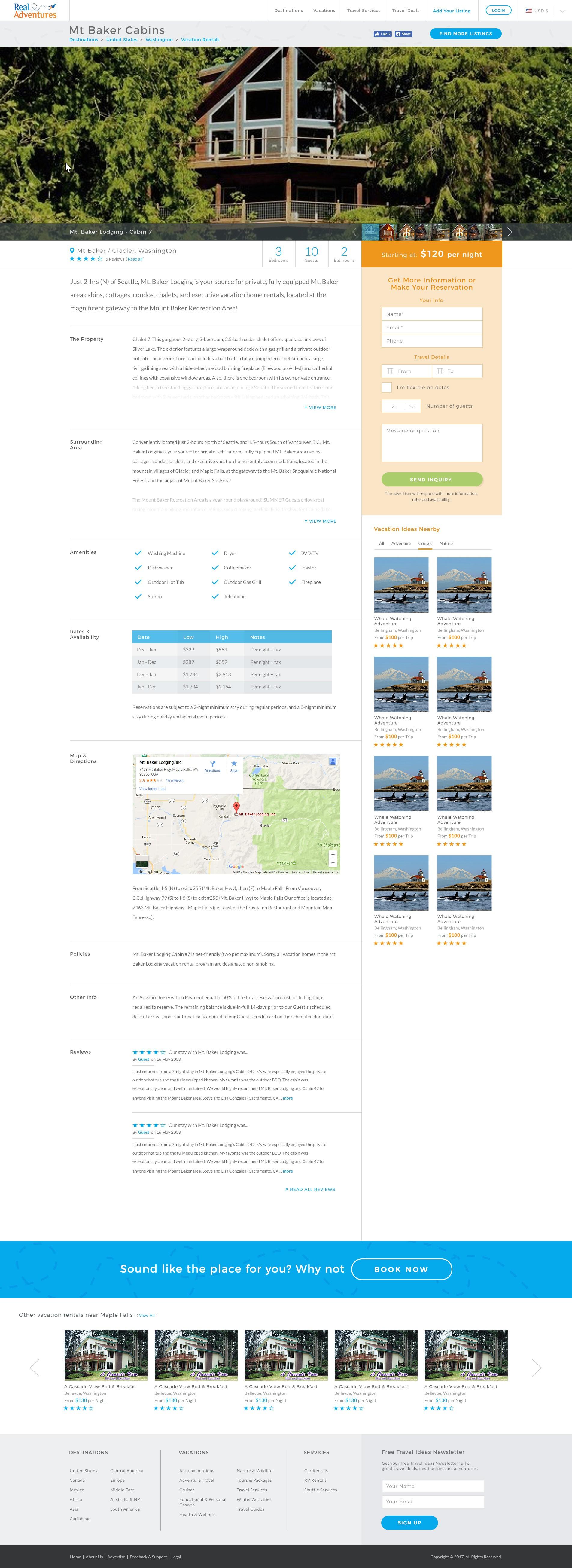 Design an inspiring adventure travel website for RealAdventures