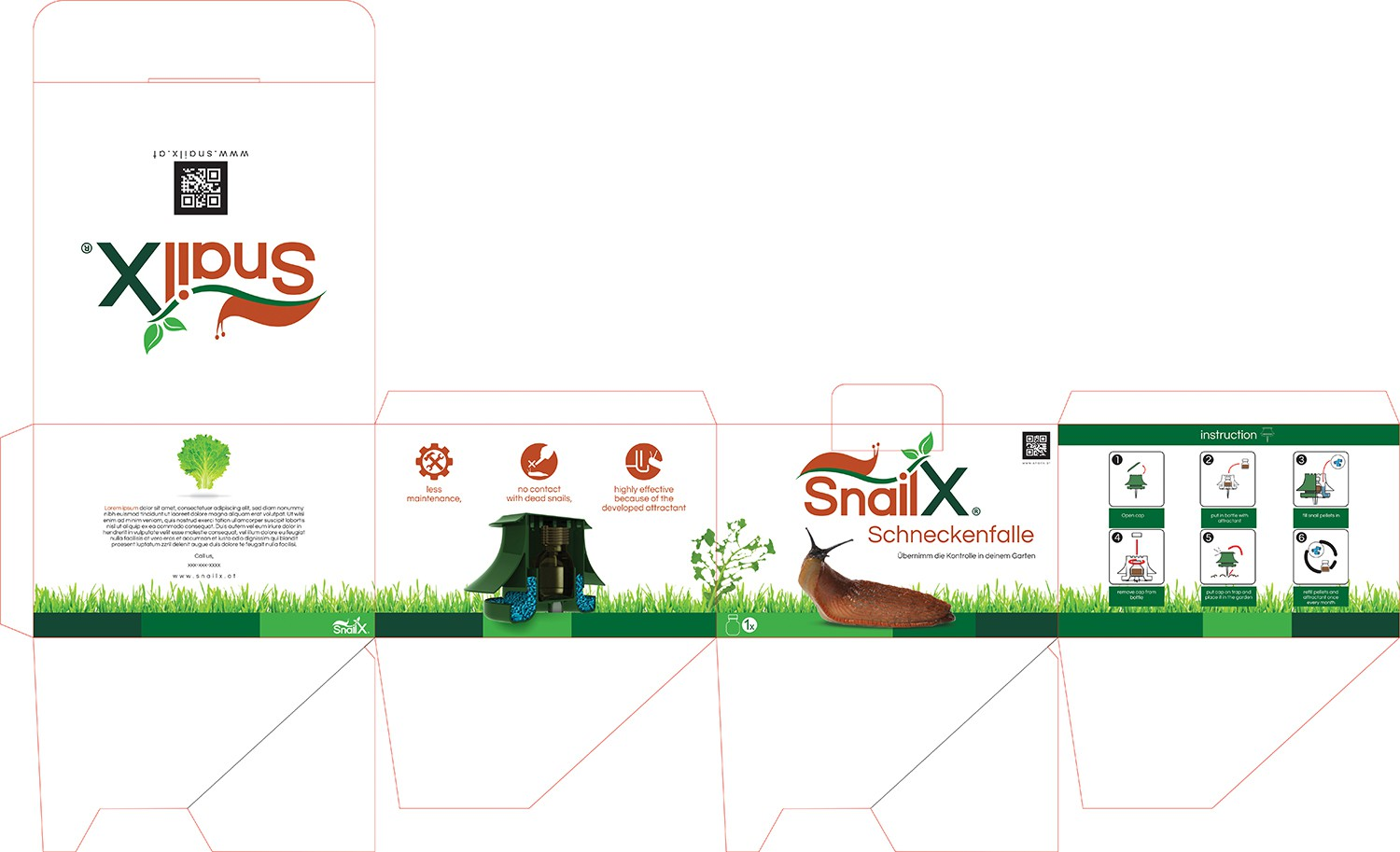 Design an innovative packaging for our new product SnailX