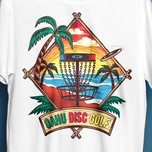 瓦胡圆盘高尔夫球设计T恤设计