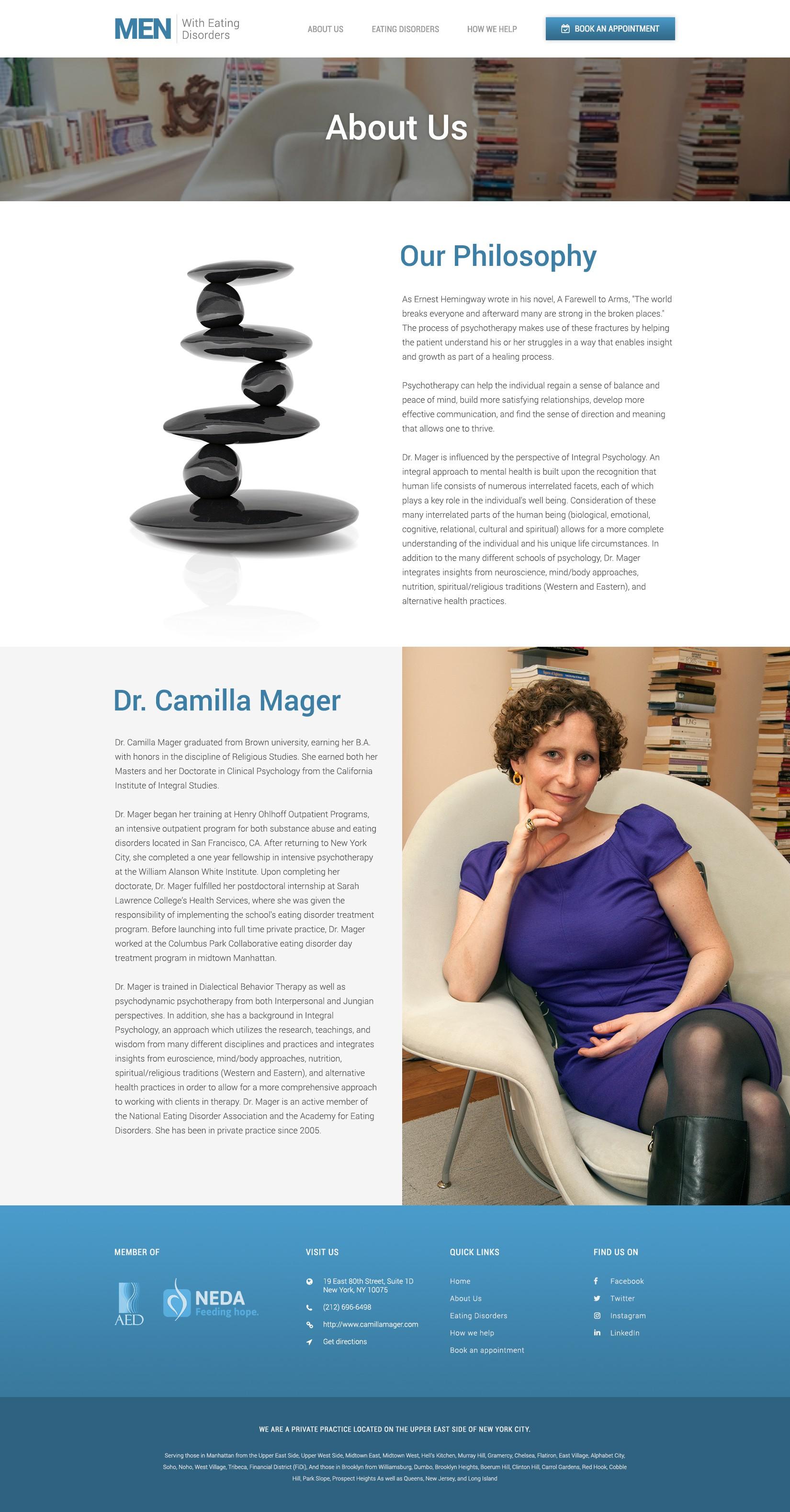 Design a masculine website for a psychological practice