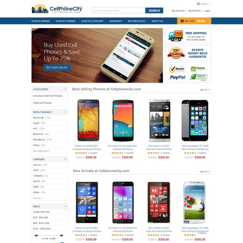 New Homepage for E-commerce smartphone retail website