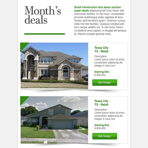 Email newsletter for Real Estate company