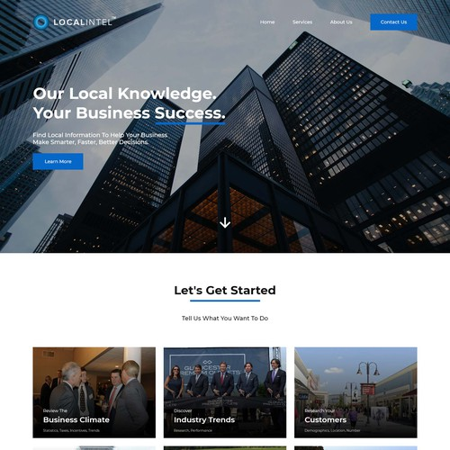 Landing page for technology company