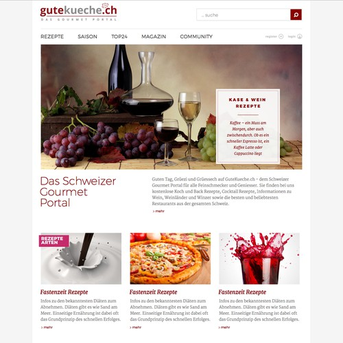 First page for food oriented website