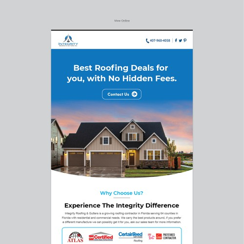 Roofing email concept