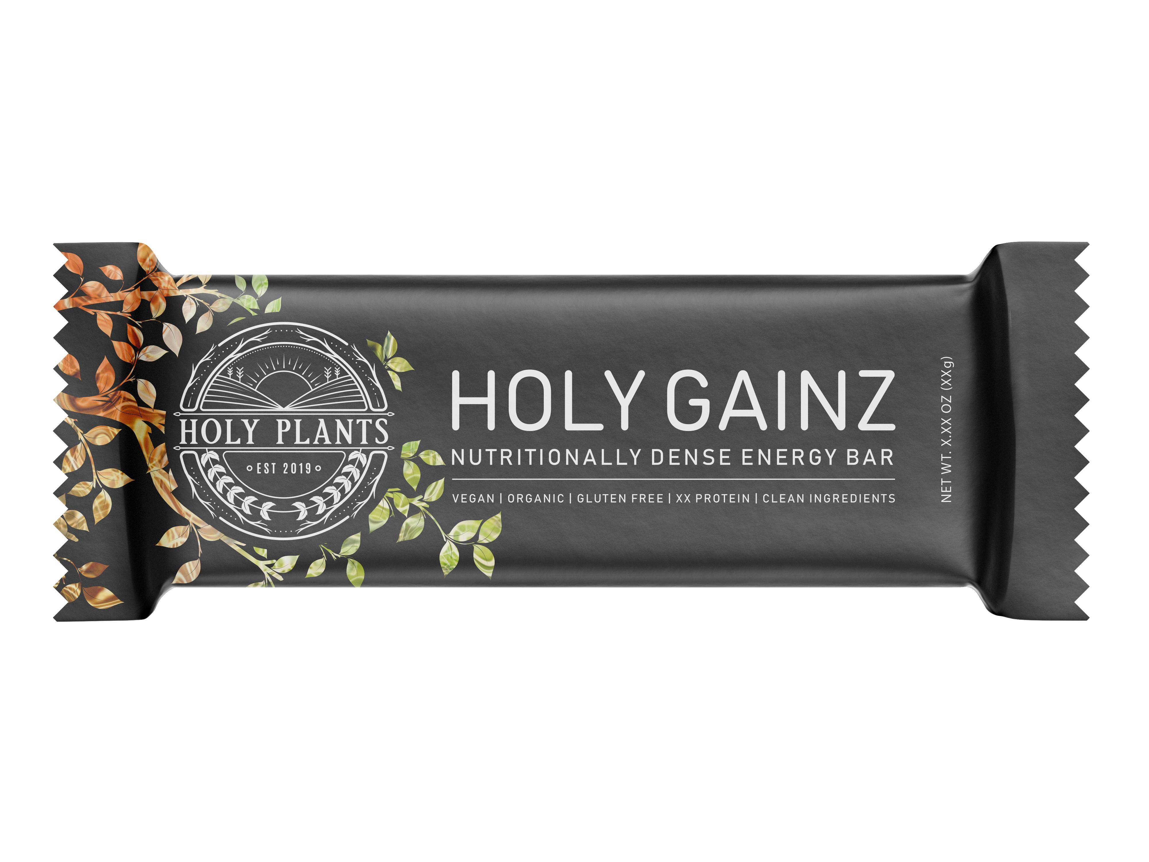 Wrapper, logo and box for a plant-based nutrient dense vegan bar.