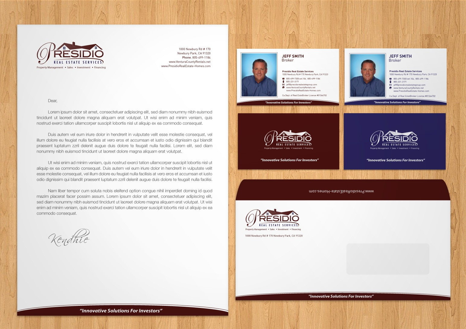 Create the next stationery for Presidio Real Estate Services