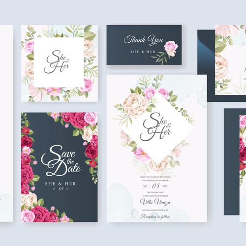 beautiful floral wedding card set template