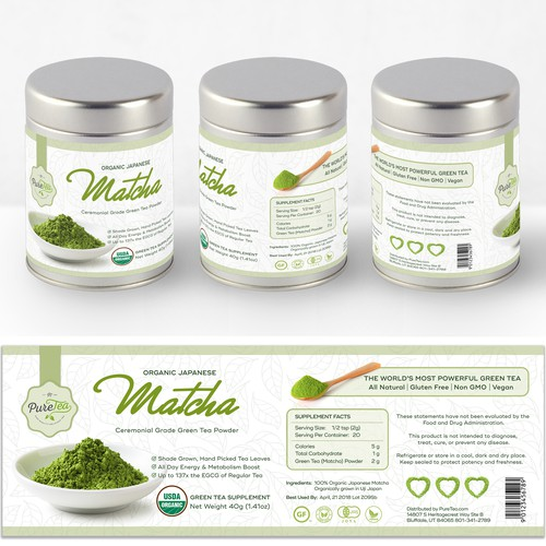 Label For Organic Japanese Matcha Tea Powder