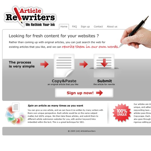 Homepage Design for Writing Service (GUARANTEED WINNER!)